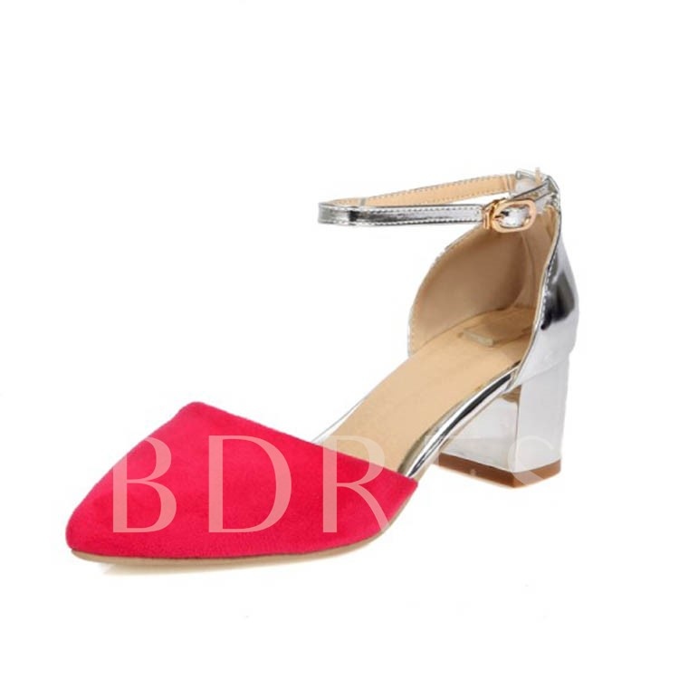Closed Toe Chunky Heel Patchwork Women's Pumps
