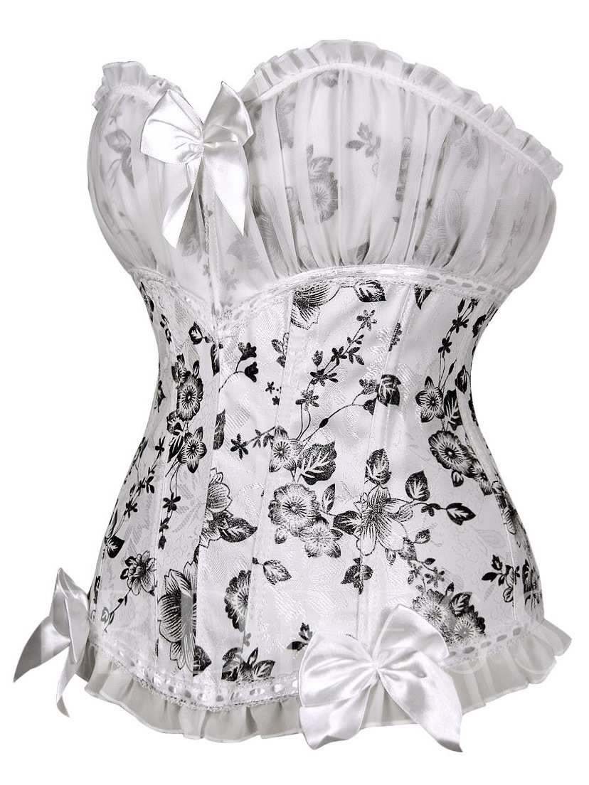 White Flora Print Bowknot Decorated Lace Up Corset