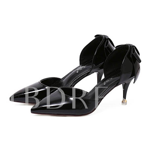 Back Bowtie Goblet Heel Pointed Toe Women's Sandals