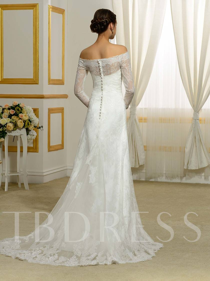 Off-The-Shoulder Long Sleeves Floor-Length Lace Wedding Dress