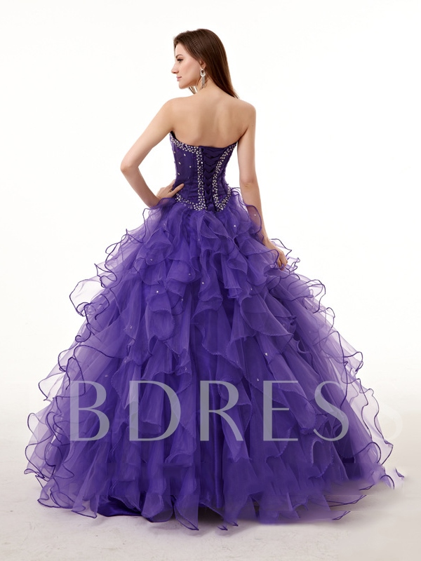 Ball Gown Beading Sweetheart Rhinestone Quinceanera Dress