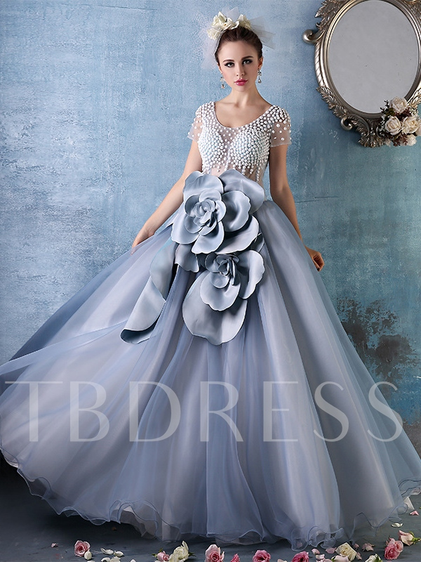 Ball Gown Flowers Pearls Floor-Length Quinceanera Dress