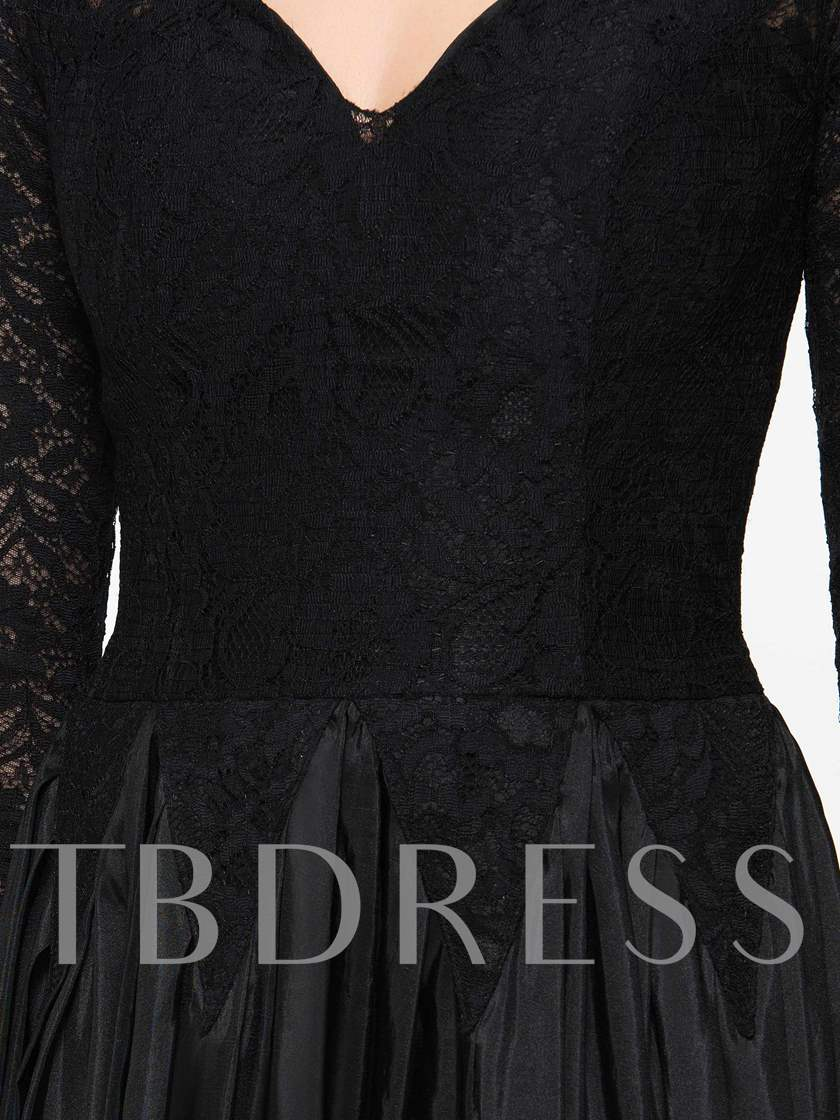 Long Sleeves A-Line V-Neck Lace Evening Dress