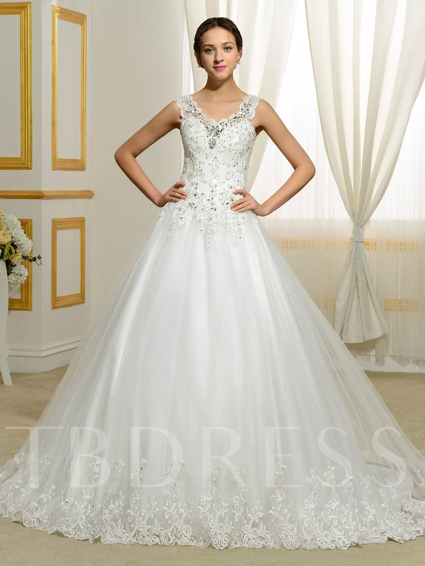 Appliques Lace Beading Sequins Ball Gown Plus Size Wedding Dress