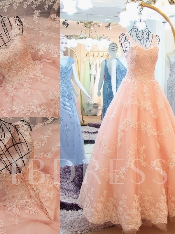 Beading Straps A-line Appliques Lace Floor-Length Prom Dress