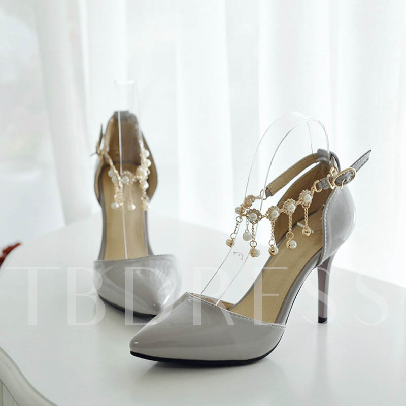 Pointed Toe Stiletto Heel Plain Rhinestone Women's Sandals