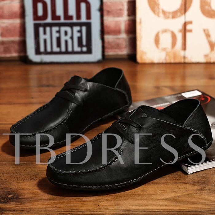 Square Toe Flat Heel Cross Strap Men's Loafers