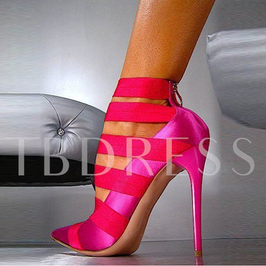 Pointed Toe Zipper Patchwork Stiletto Heel Women's Sandals