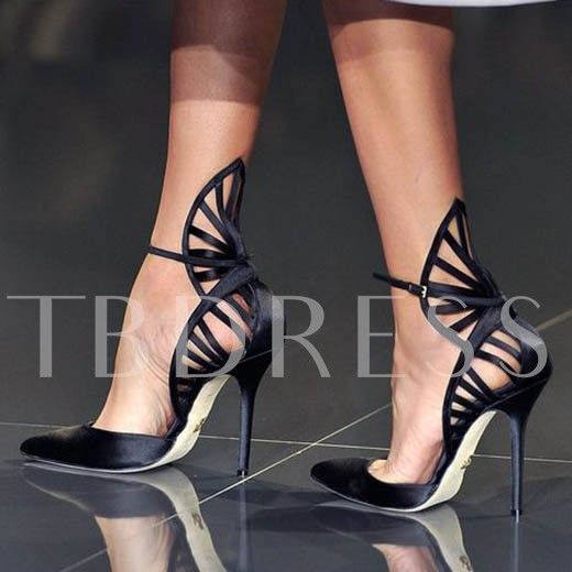 Buy Pointed Toe Plain Hollow Stiletto Heel Buckle Women's Sandals, Sheshoe, Spring,Fall, 11987467 for $58.99 in TBDress store