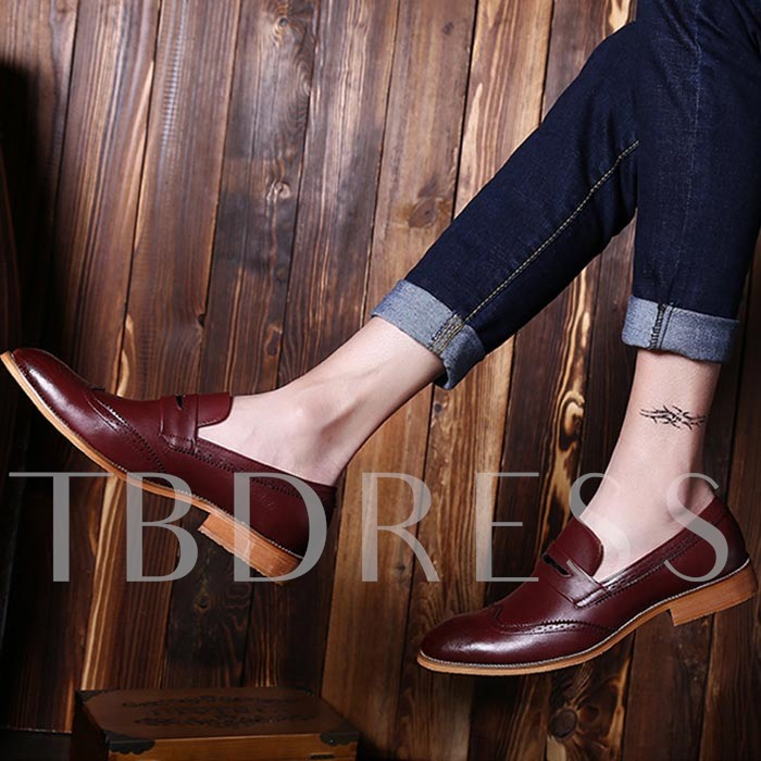 Square Toe Flat Heel Slip-On Men's Oxfords