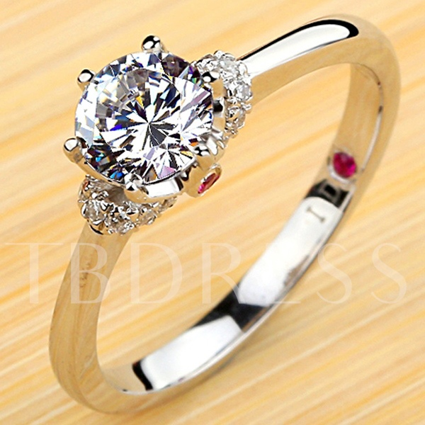 Silver Plating Platinum NSCD Diamond Shaped Engagement Ring