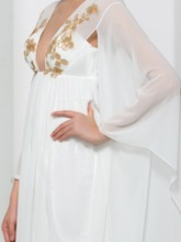Long Sleeves A-Line V-Neck Appliques Sequins Sweep Train Prom Dress