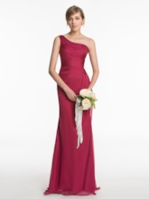 One Shoulder Ruched Sheath Long Bridesmaid Dress