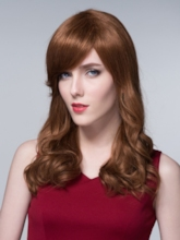 Sweet Long Wavy Human Hair Capless Wigs 24 Inches