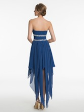 Strapless Beading Ruched Asymmetric Bridesmaid Dress
