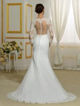 Jewel Neck Lace 3/4-Length Sleeves Mermaid Wedding Dress