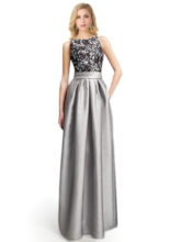 A-Line Bateau Lace Ruched Floor-Length Evening Dress