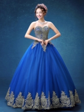 Sweetheart Ball Gown Appliques Royal Blue Quinceanera Dress