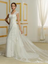 Straps A-Line Beading Appliques Wedding Dress