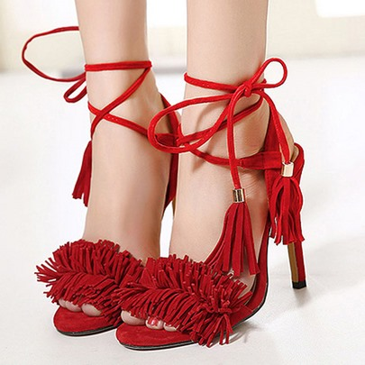 Open Toe Lace-Up Front Plain Cross Strap Tassel Women's Sandals
