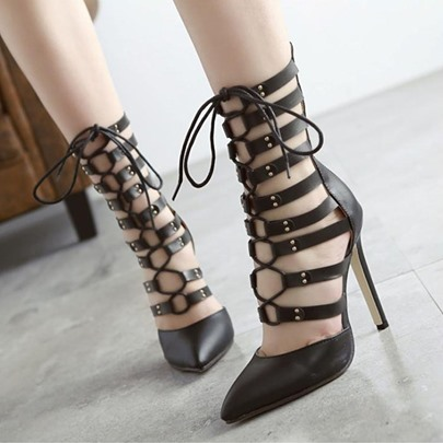 Closed Toe Zipper Plain Hollow Lace-Up Women's Sandals