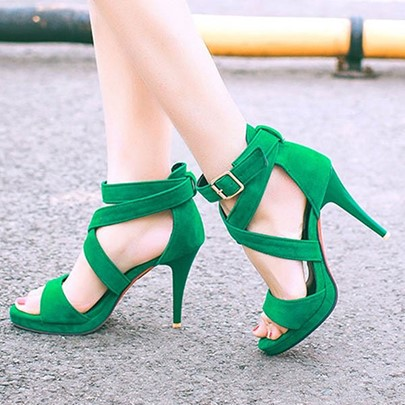 Open Toe Cross Buckle Stiletto Heel Women's Kelly Green Sandals
