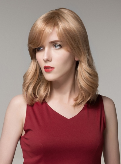 Elegant Medium Bottom Wave Capless Human Hair Wig 16 Inches