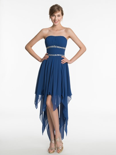 Strapless Beading Ruched A-Line Short Bridesmaid Dress