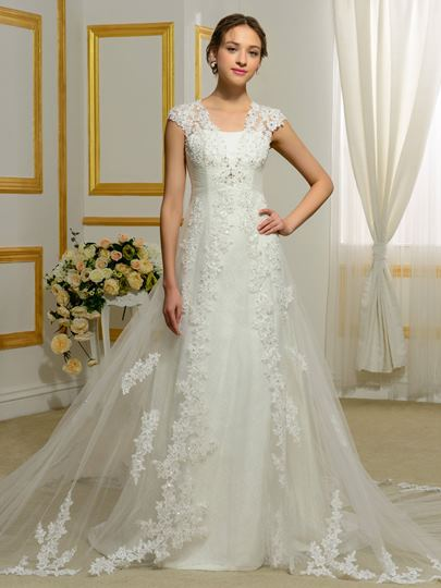 Straps A-Line Beading Tulle Wedding Dress