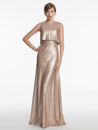 Jewel Neck Sequins Floor-Length A-Line Bridesmaid Dress
