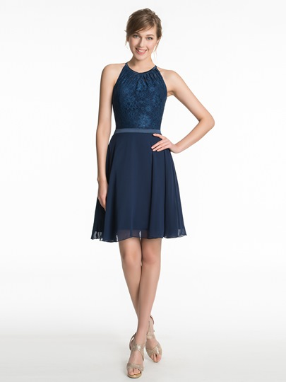 Lace Scoop Neck A-Line Short Bridesmaid Dress