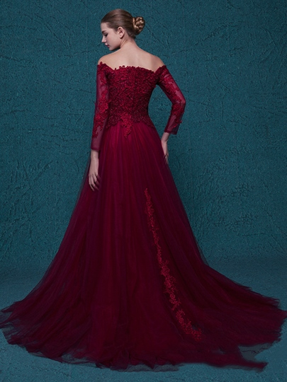 A-Line Off-the-Shoulder Long Sleeves Appliques Court Train Evening Dress