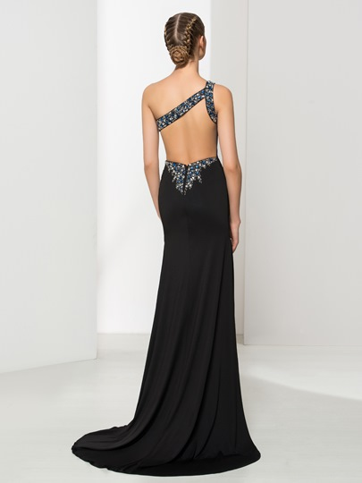 One-Shoulder Mermaid Beading Pleats Court Train Evening Dress