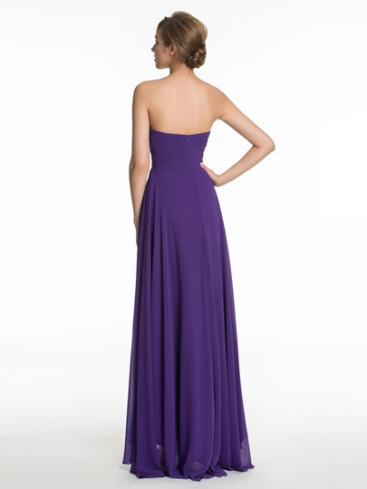 Sweetheart Ruched Zipper-Up High-Low Bridesmaid Dress