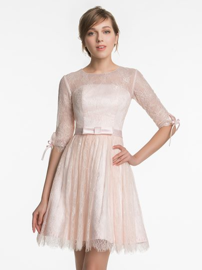 Half Sleeves Jewel Neck Lace Short Bridesmaid Dress