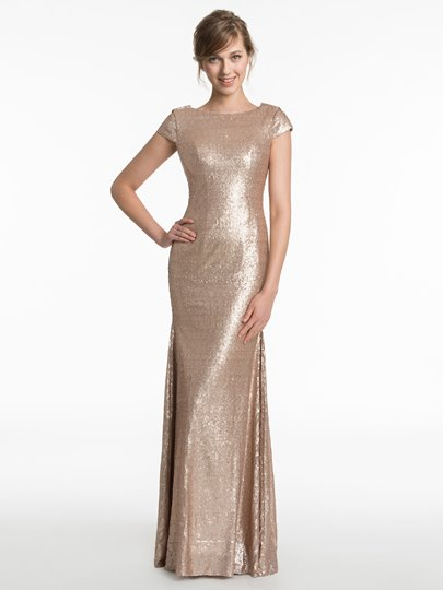 Cap Sleeves Jewel Neck Sequins Mermaid Floor-Length Bridesmaid Dress