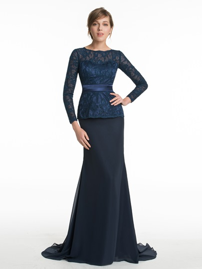 3/4-Length Sleeves Lace Sweep Train Sheath Bridesmaid Dress