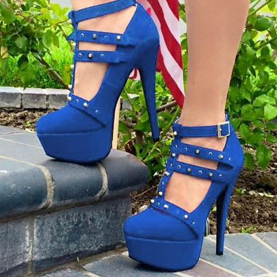 Rivets Platform High Heel Women's Prom Shoes (Plus Size Available)