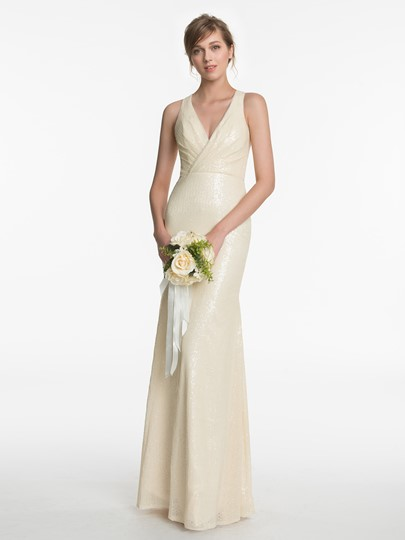 Deep V-Neck Sequins Zipper-Up Sheath Bridesmaid Dress