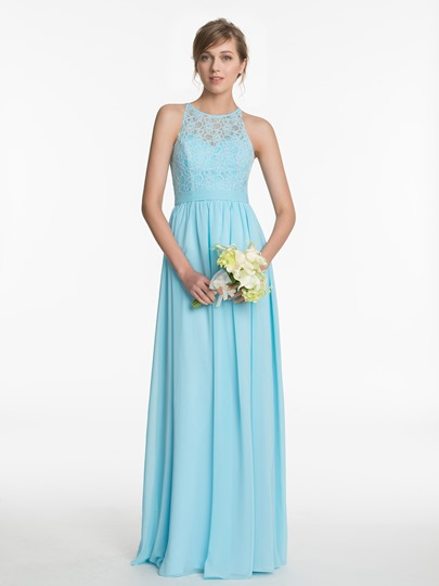 Jewel Neck Lace Sash A-Line Floor-Length Bridesmaid Dress