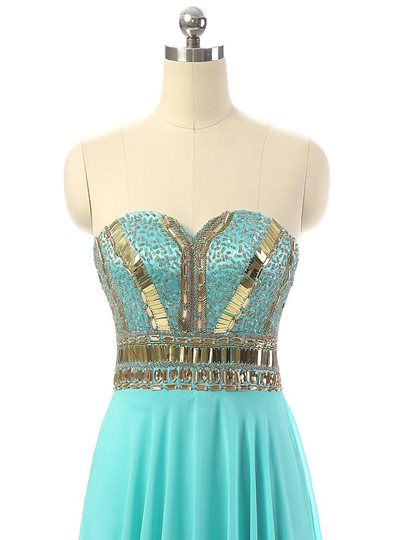 Sequins A-Line Sweetheart Beading Floor-Length Prom Dress