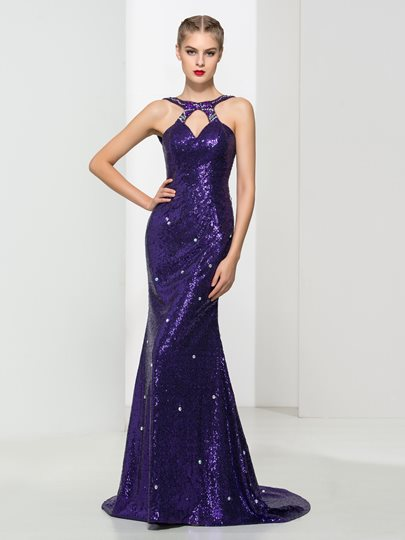 Trumpet Round Neck Sequins Rhinestone Sweep Train Evening Dress