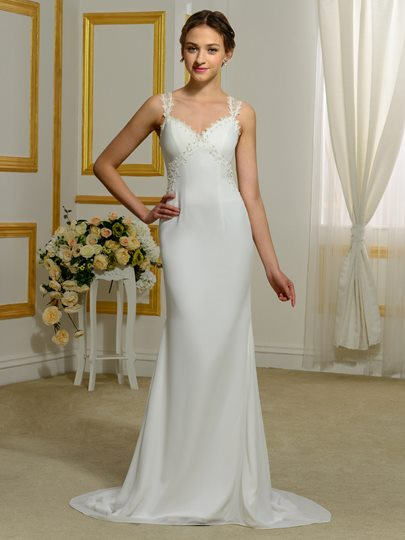 Sequined Straps Appliques Sheath Wedding Dress