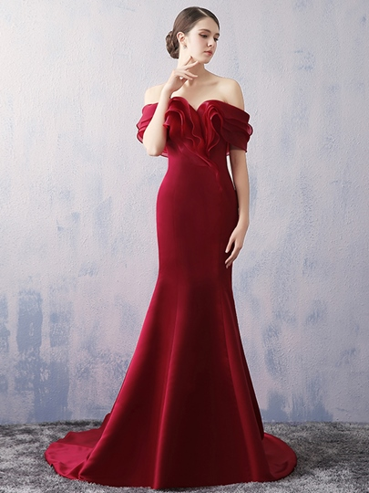 Off-the-Shoulder Pick-Ups Mermaid Court Train Evening Dress