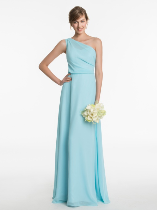 Simple One Shoulder A-Line Long Bridesmaid Dress