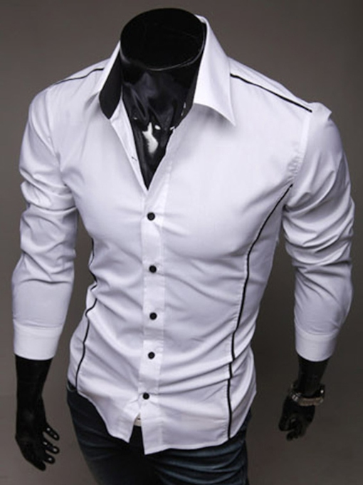 Lapel Single-Breasted Slim Men's Long Sleeve Shirt
