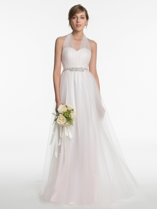 Halter Beading A-Line Floor-Length Zipper-Up Bridesmaid Dress