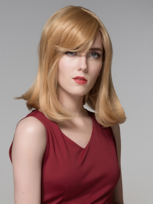 Charming Medium Straight Capless Human Hair Wig 16 Inches