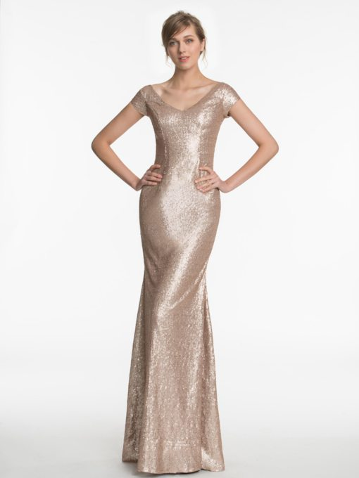Short Sleeves V-Neck Sequins Bridesmaid Dress