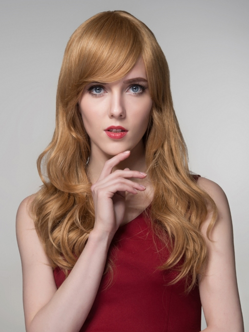 Elegant High Quality Long Wavy Human Hair Wigs 24 Inches
